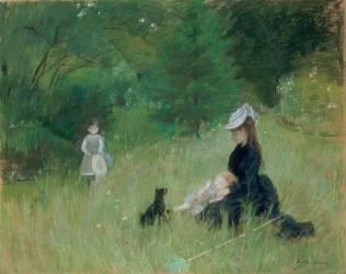 Dans le parc [Edma Pontillon, soeur de B. Morisot et ses filles, Jeanne et Blanche] (Berthe Morisot) - Muzeo.com
