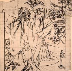 Deux jeunes filles accroupies près d'un trépied avec amphores (Mucha Alfons) - Muzeo.com