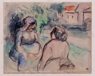 Deux paysannes conversant (Pissarro Camille) - Muzeo.com