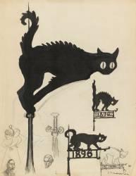 Divers projets d'enseignes surmontées de chats noirs (Steinlen Théophile Alexandre) - Muzeo.com