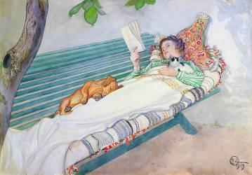 Femme allongée sur un banc (Carl Larsson) - Muzeo.com