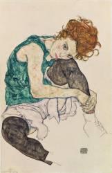 Femme assise genou plié (Schiele Egon) - Muzeo.com