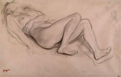 Femme nue, allongée sur le dos, étude pour Scène de guerre (Edgar Degas) - Muzeo.com