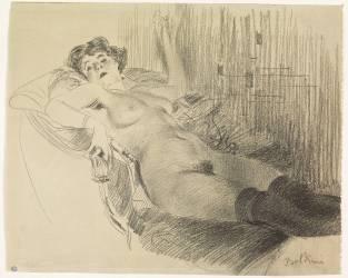 Femme nue, allongée sur un canapé, portant des bas noirs (Giovanni Boldini) - Muzeo.com
