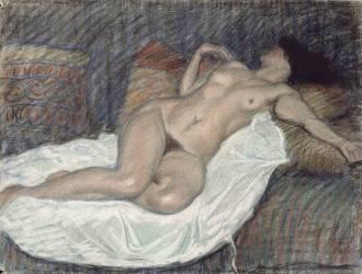 Femme nue, étendue sur des coussins (Steinlen Théophile Alexandre) - Muzeo.com