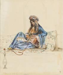 Femme turque à demie-étendue sur un divan et fumant le narguilé (Prosper Marilhat) - Muzeo.com