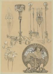 Instruments pour la cheminée, chenet, motifs floraux, pare-feu (Mucha Alfons) - Muzeo.com