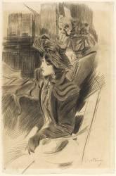 Jeune femme assise dans un intérieur près d'une liseuse (Giovanni Boldini) - Muzeo.com