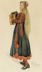 Lisbeth jouant de l'accordéon (Carl Larsson) - Muzeo.com