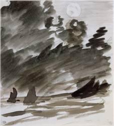 Marine avec voiliers au clair de lune (Edouard Manet) - Muzeo.com