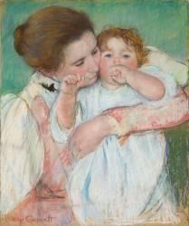 Mère et enfant sur fond vert (Cassatt Mary) - Muzeo.com