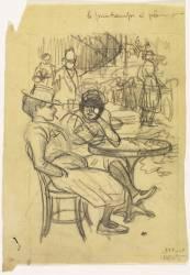A la terrasse d'un café (Steinlen Théophile Alexandre) - Muzeo.com