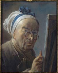 Autoportrait dit au chevalet (Jean-Baptiste-Siméon Chardin) - Muzeo.com