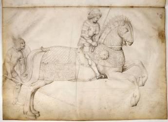 Cavalier au galop, et guerrier à pied (Jacopo Bellini) - Muzeo.com