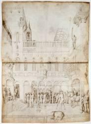 Etage supérieur d'un palais; Suzanne et les deux vieillards devant Daniel (Jacopo Bellini) - Muzeo.com