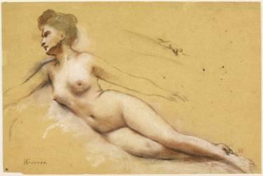 Femme allongée, les jambes croisées et les bras écartés du corps ; reprise (Gervex Henri) - Muzeo.com