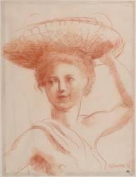 Jeune femme en buste, maintenant de la main gauche une corbeille sur sa tête (La Fresnaye Roger de) - Muzeo.com
