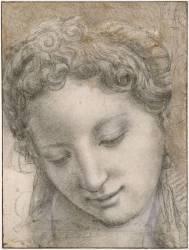 Tête de femme inclinée, souriante et les yeux baissés (Allori Agnolo di Cosimo) - Muzeo.com