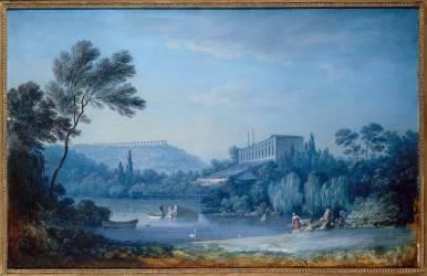 Vue de la serre chaude et de l'aqueduc de Marly (Alexandre-Jean Noël) - Muzeo.com