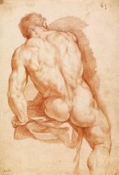 Académie d'homme assis de dos (Anonyme) - Muzeo.com