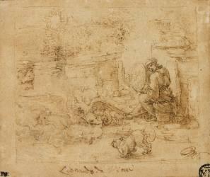 Des animaux, dont une licorne et un aigle combattant un dragon ; une femme tient un miroir dans lequel se reflète le soleil (De Vinci Léonard) - Muzeo.com