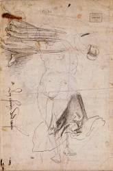 Deux études de draperie et reprise de la figure féminine du recto de face (Albrecht Dürer) - Muzeo.com