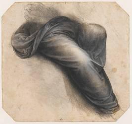 Draperie enveloppant les jambes d'une figure assise (De Vinci Léonard) - Muzeo.com