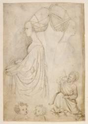 Femmes de profil en costume de cour, vues en buste. Deux têtes d'enfants. Un évangéliste (Pisanello (dit), Pisano...) - Muzeo.com