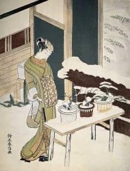 Art japonais : une jeune femme en kimono d'hiver admire ses bonsais (bonzais) sur la terrasse enneigee (Anonyme) - Muzeo.com