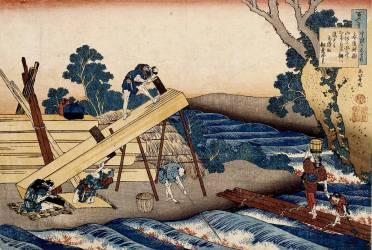 Construction d'un pont (Hokusai) - Muzeo.com