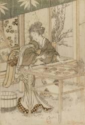Femme avec fleurs chez elle, tenant une coupelle remplie de perles (Hokusai) - Muzeo.com