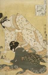 Femme et sa fille penchées sur un jeu de figurines (Kitagawa Utamaro) - Muzeo.com