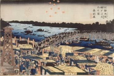 Feux d''artifice dans la fraîcheur du soir au pont de Ryosoku (Hokusai) - Muzeo.com