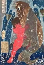 Kintoki accroché à une carpe remontant jusqu'à la cascade (Utagawa Kuniyoshi) - Muzeo.com