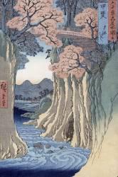 Le pont de singe dans la province de Kai (Hiroshige) - Muzeo.com