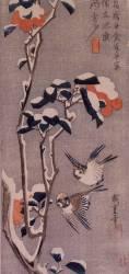Moineaux et camélias sous la neige (Hiroshige) - Muzeo.com