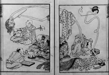 Monstres, musiciens fantômes (Hokusai) - Muzeo.com