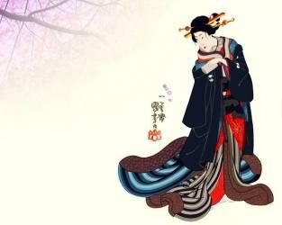 Shimabara oiran ou courtisane Kashiwagi (Utagawa Kuniyoshi) - Muzeo.com