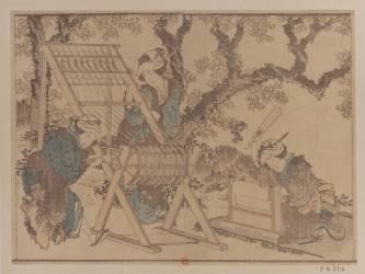 Trois femmes dans un paysage fleuri avec métier à tisser. Les apprêts de la soie sous les érables (Hokusai) - Muzeo.com