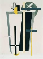 Composition abstraite en gris, jaune et noir (Eliezer Lissitzky) - Muzeo.com