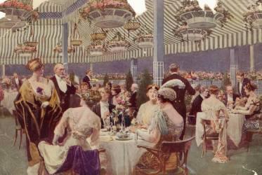 Dîner sur la terrasse du toit de l'hôtel le Ritz-Carlton à New York en 1918 (Anonyme) - Muzeo.com