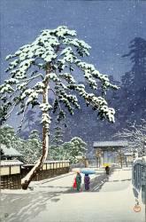 L'entrée au Temple Mon Hon à Ikegami, sous la neige, 1931 (Hasui Kawase) - Muzeo.com