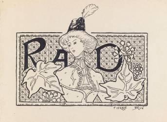 Projet de monogramme : buste de femme coiffée d'un chapeau à plumes en costume moderne (Brun Pierre) - Muzeo.com