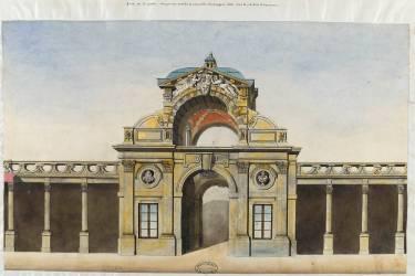 Album Robit : Le château de Fontainebleau, face de la porte Dauphine (Anonyme) - Muzeo.com