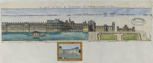 Album Robit : Le dhâteau de Fontainebleau, vue générale du château du côté de l'étang et du parterre (Anonyme) - Muzeo.com