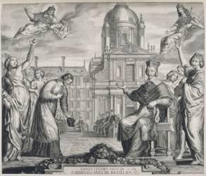 Armand-Jean Duplessis, cardinal-duc de Richelieu (1585-1642)- Fondation de La Sorbonne par Richelieu (Huret Grégoire) - Muzeo.com