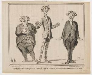 Chant d'allégresse exécuté par M.M. Cobden, Bright et Patterson à l'occasion du rétablissement de la (Honoré Daumier) - Muzeo.com