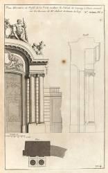 Planche 104 : Plan élévation et profil de la porte cochère de l'Hôtel de Lassay (Jacques-François Blondel) - Muzeo.com