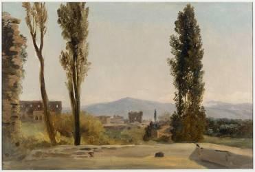 A la villa Farnèse : les trois peupliers et le Mont Latium (Pierre Henri de Valenciennes) - Muzeo.com