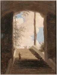 A la villa Farnèse : l'escalier (Pierre Henri de Valenciennes) - Muzeo.com